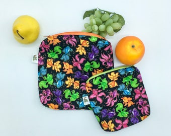 Colorful fish waterproof snack bag, Washable sandwich bag, Washable waterproof pouch, Zero waste