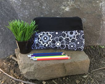 Pencil case, Pocket for pencils, Cosmetic Bag, Storage pouch, Black and white pocket flower