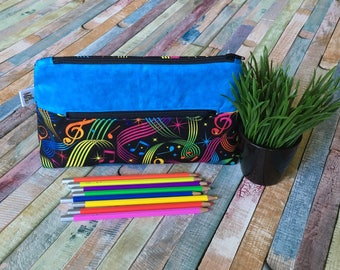 Music pencil case, Pocket for pencils, Cosmetic Bag, Storage pouch