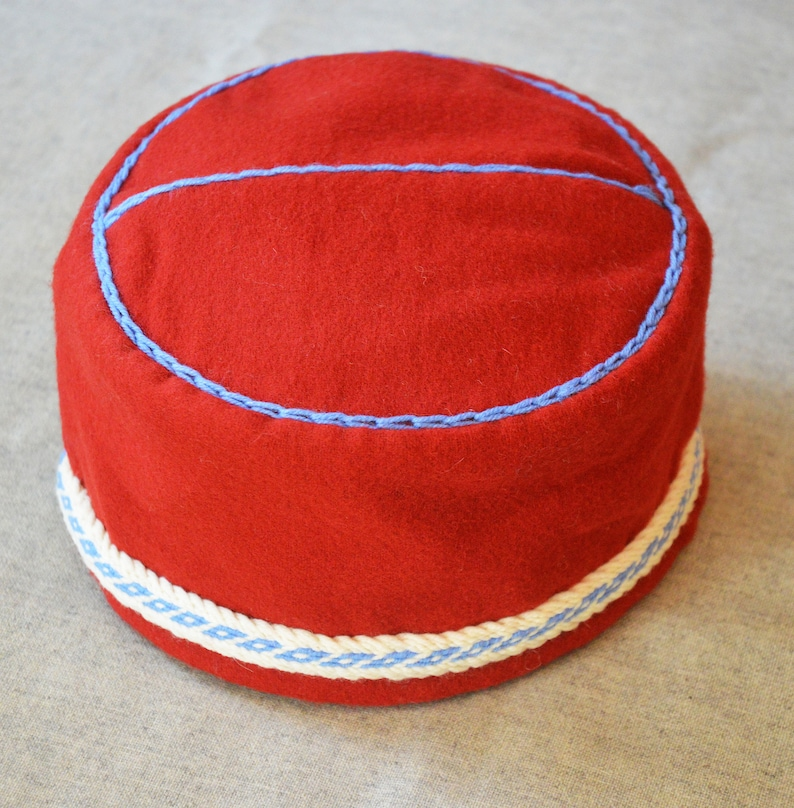 f5827052 Leens Hat Reconstruction with Tablet Woven Braid Trimming and Decorative  Stitching, Early Medieval Cap, Medieval Hat
