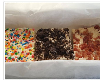 FUDGE SAMPLER BOX 1 1/2  pounds! Over 50 flavors to choose from !