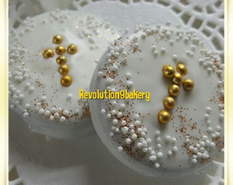 Chocolate Covered Oreo Cookies, Gold Baptism Favors, Christening Communion Favors, Baby Shower, Confirmation Cookie Favors 1 Dozen