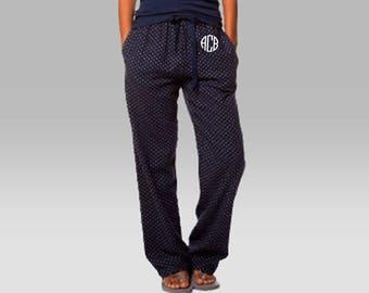 Monogrammed Flannel Pajama Pants, Polka Dot Pajama Pants, Ladies Pajama Pants