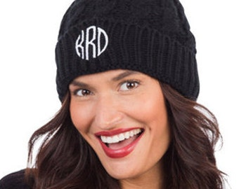 Monogrammed Personalized Black Pom Pom Knitted Hat 9f3be4c41b4