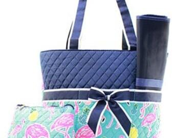 Monogrammed/Personalized Flamingo Diaper Bag, Tote Bag, Baby Gift