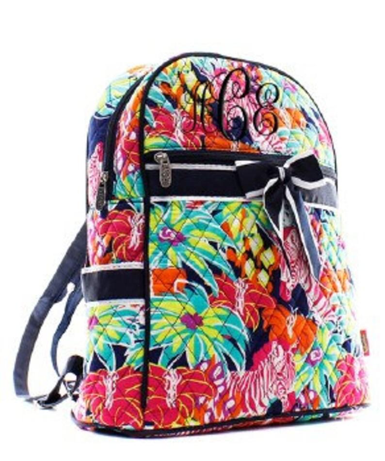 Toddler Bag MonogrammedPersonalized Quilted Zebra BackpackBookbag Diaper Bag