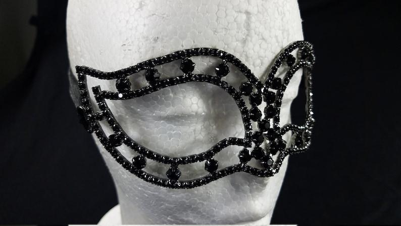 Wedding Bridal Shower Crystal Masquerade Metal Mask Unisex Mardi Gras CM014BK Prom