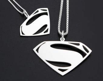 Superman pendant etsy superman necklace superhero unisex choose for men or women sterling silver pendant italian box chain justice league couples gift superman mozeypictures Gallery