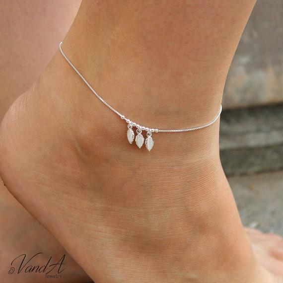 Sterling Silver 925 Dangling Leaf Charm Anklet Adjustable Chain leaf Anklet A04