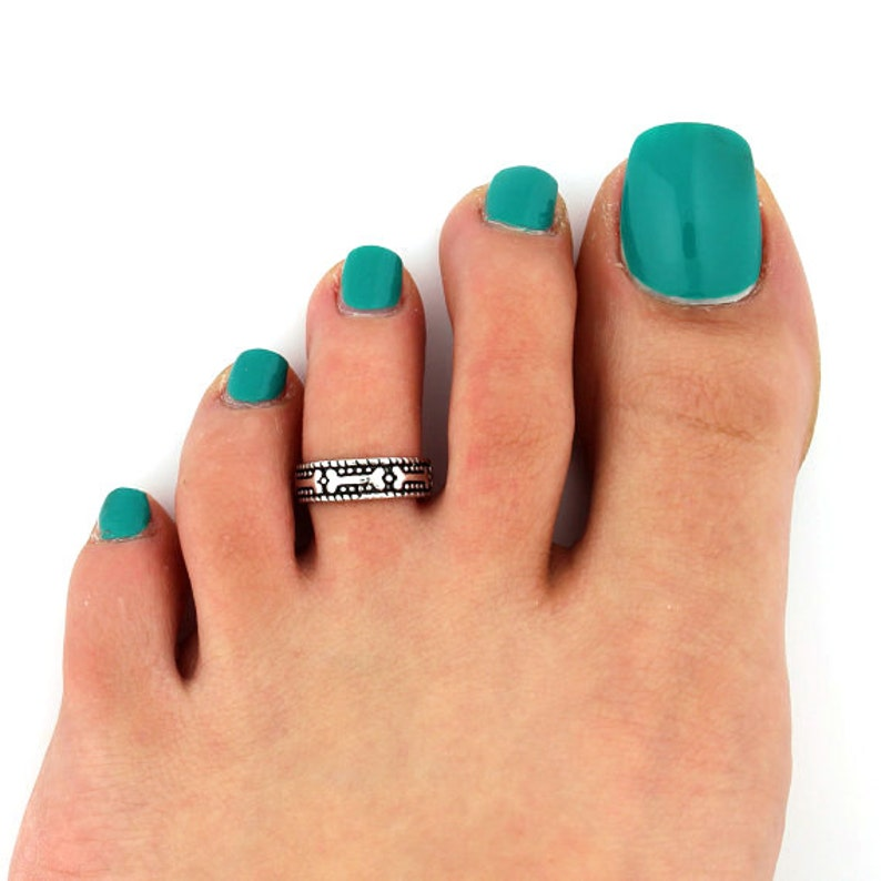 sterling silver toe ring Dog bone design toe ring adjustable toe midi ring Also knuckle ring T52