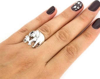 Sterling Silver 925 Elephant Ring Mother and Baby Elephant ring cute Walking Elephants ring mother daughter ring Gift (R26)