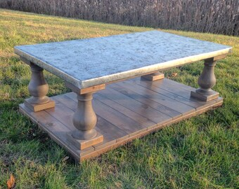 Balustrade Coffee Table with Zinc Patina Top