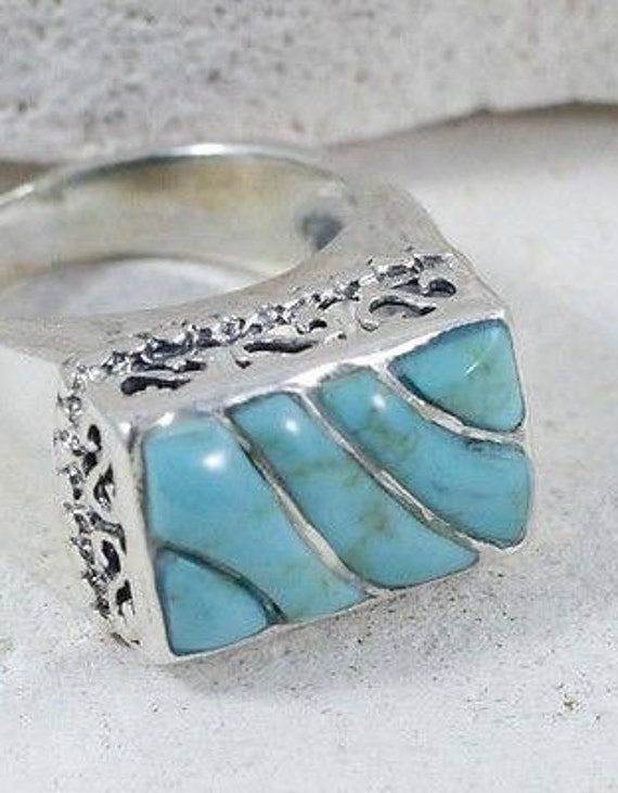 Turquoise Rings / Vintage Rings / Sterling Silver