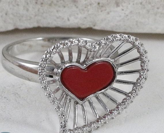 Sterling Silver Rings / Heart Rings / Vintage Ring