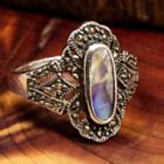 Abalone Rings / Vintage Rings / Multistone Rings … - image 2