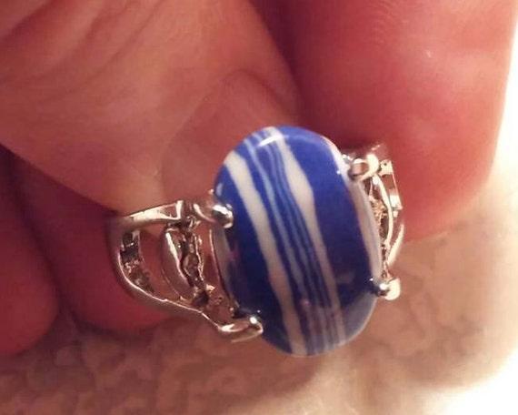 Vintage Rings / Rainbow Calsilica Rings / Sterling