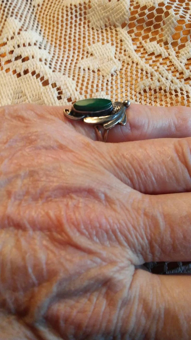 Vintage Rings  Sterling Silver Rings  Navajo Rings  Malachite Rings  Rings Size 4.5 Item#ER541