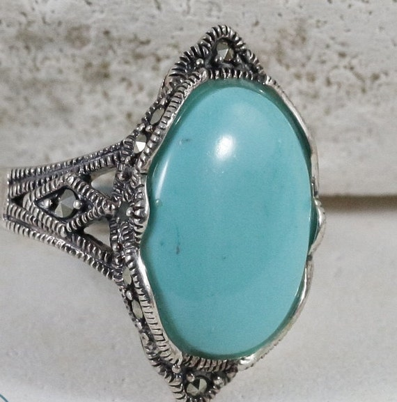 Turquoise Rings / Marcasite Rings / Sterling Silve