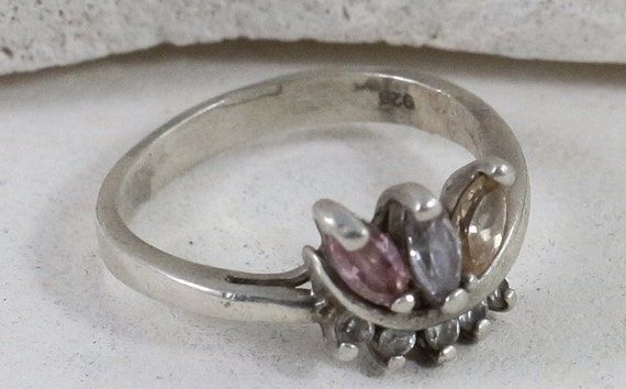 Sterling Silver Rings / Mothers Rings / Pink Tourm