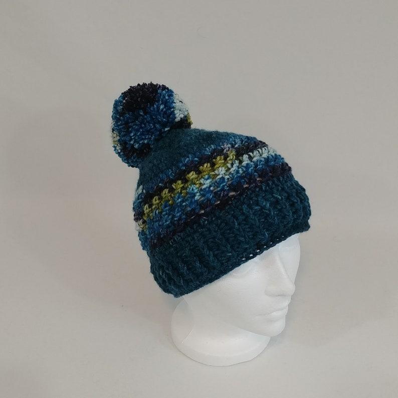 Crochet Cap Teal Crochet Hat Nell/'s Teal Cross Stitch Beanie with Pom-Pom Unisex Beanie