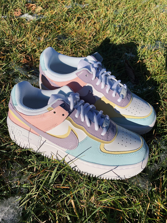 Pastel Multi Colour Custom Nike Air Force 1 Shadow (AF1s)