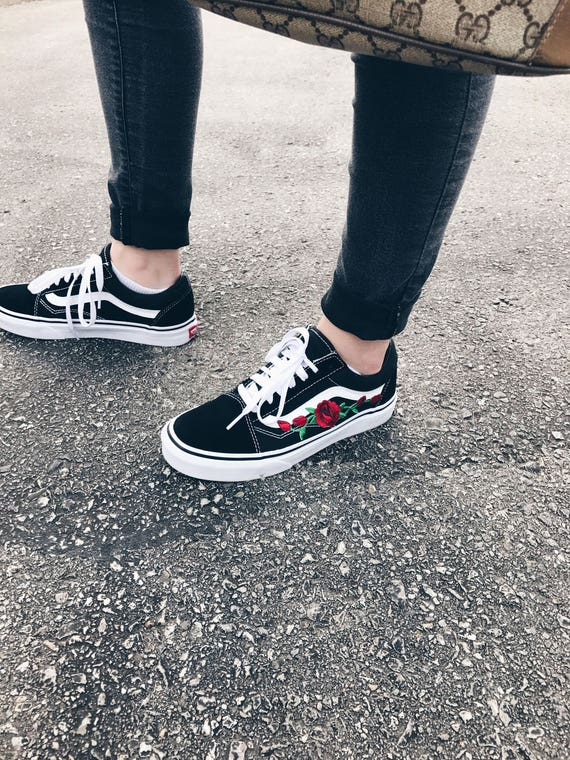 Tumblr Embroidered Custom Rose Vans