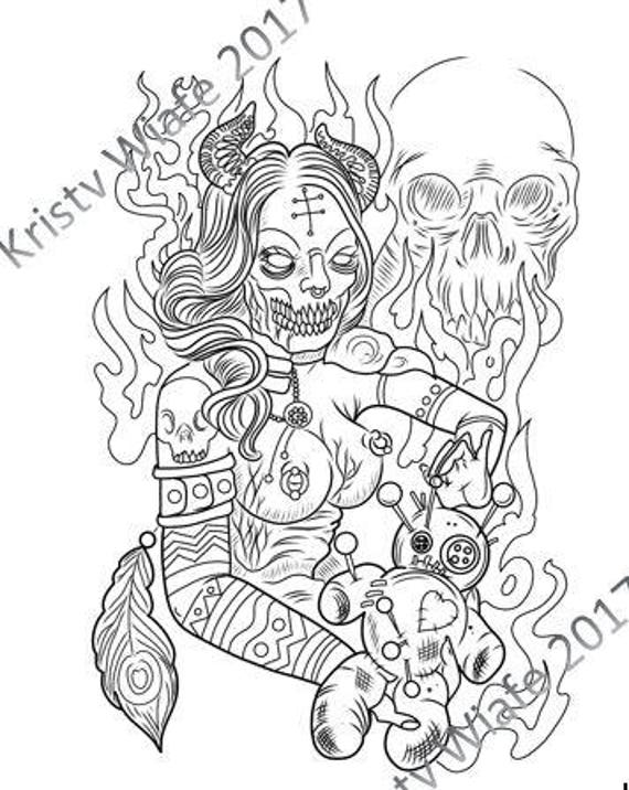 SINGLE PDF COLORING Page Demon With Voodoo Doll