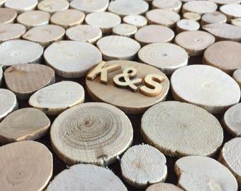 Wooden Wedding Guest book Alternative - 115 wooden discs - Sign in Rustic guestbook