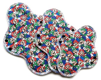Mario Bros. Gamer Cloth Pads, Cotton Cloth Pads, Cloth Pad Sets, Reusable Cloth Pads, Reusable Menstrual Products, Cloth panty Liners.