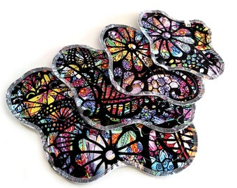 Stained Glass Cotton Topped Cloth Pads, Cloth Pad Sets, Cloth Menstrual Pads, Cloth Incontinence Pads ~ Reusable Cloth Pads ~ Sanitary Pads