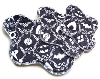 Superhero Cloth Pads, Minky Topped Cloth Pads, Cloth Menstrual Pads, Incontinence Pads, Reusable Panty Liners,Cloth Pad Set, ComicBook nerds