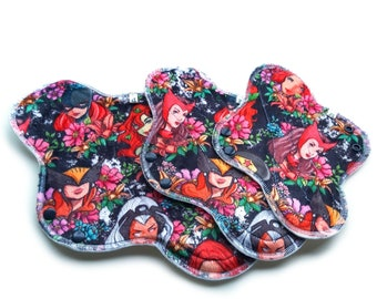Cloth Pads, Minky Topped Cloth Pads, Cloth Menstrual Pads, Incontinence Pads, Reusable Panty Liners, Sanitary Pads, Superhero Floral Pads