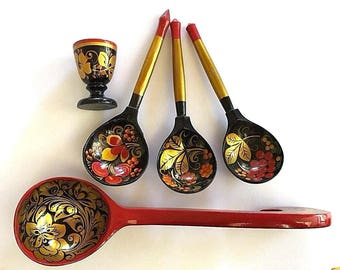 Lot of 5 KHOKHLOMA Russian hand-painted items 3 spoons, 1 ladle, 1 egg cup