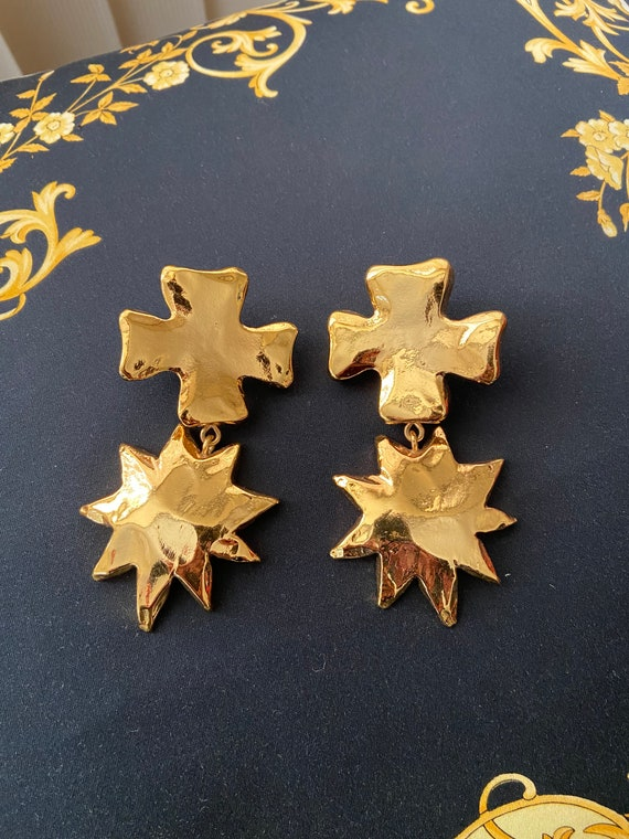 Christian Lacroix vintage clip on earrings massive