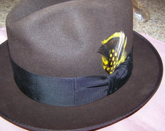 84b275d4ad4cb Vintage STETSON Royal Brown Fedora with Black Ribbon and Gorgeous Feather