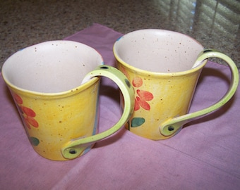 Twisted Handle Pottery Mugs from Italy - Set of 2