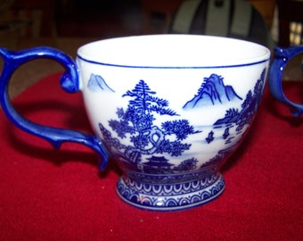Vintage Bombay Blue and White Delft Coffee Mugs  --  Set of 2