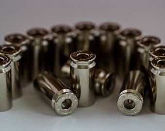 Set of 25! Drilled Bullet Casings BEADS! .40 Caliber, Silver Tone, Polished, With a Hole! Empty Spent Ammo Cartridge Shells