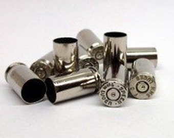 9mm Bullet Casings! Silver Tone, Polished and Shined, You Pick Quantity! Empty Spent Ammo Cartridge Shells