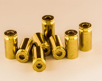Drilled Bullet Casing BEADS! .40 Caliber, Gold Tone, Polished, With a Hole! You Pick Quantity! Empty Spent Ammo Cartridge Shells
