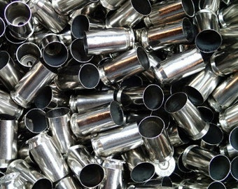 45 Caliber Bullet Casings! Set of 25. Silver Tone, Polished and Shined! Empty Spent Ammo Cartridge Shells