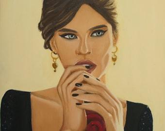 Original Oil painting of Bianca Balti