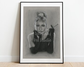 Audrey Hepburn Original Charcoal Drawing on Toned Paper