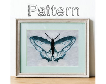 Butterfly cross stitch pattern for beginner simple easy  design pdf download xstitch minimalist decor counted cross