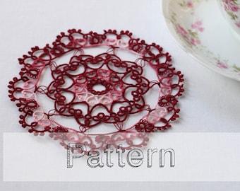Heart doily tatting pattern - placemat pattern needle tatting lace  - shuttle tatting or needle tatting tatting pattern frivolity