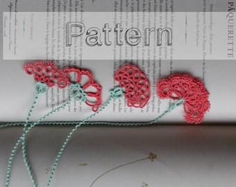 Bookmarks tatting patterns, tutorial for 4 flower bookmarks tatted lace, shuttle tatting or needle tatting DIY - tatted pattern frivolite