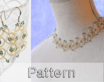 Tatting pattern set necklace and earrings tatted jewelry shuttle tatting pattern or needle tatting pattern frivolite frivolity tatted lace