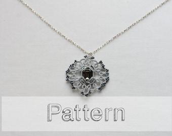 Cabochon pendant tatting pattern - Tatted jewelry pattern - jewelry tattind - shuttle tatting pattern or needle tatting pattern