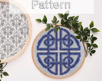 Easy celtic cross stitch pattern for beginner simple modern geometric design pdf download xstitch knot quaternary decor counted cross