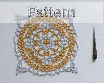 Doily tatting pattern - placemat pattern needle tatting lace  - Earth and sky-  shuttle tatting or needle tatting tatting pattern frivolity